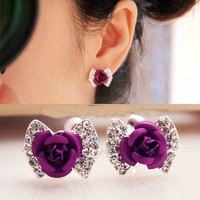 NT0143 Rose bow fake earrings clip