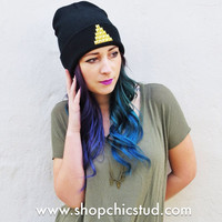 Studded Beanie Hat - Pyramid Design - Gold Or Silver or Black Studs