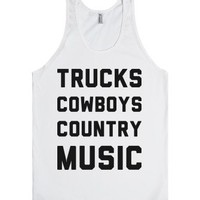 Trucks, Cowboys, Country Music-Unisex White Tank