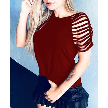 New fashion solid color short sleeve top women Burgundy