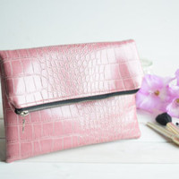 Pink fold over clutch, zipped clutch, foldover clutch, fold over purse, zipper purse, bridesmaids clutch, wedding evening bags, faux leather