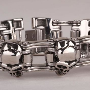 Men stainless steel bracelet 316L heavy biker jewelry men skull bracelet