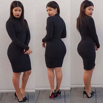 Streetstyle  Casual Black Plain Band Collar High Neck Bodycon Long Sleeve Mini Dress