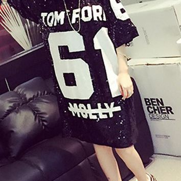 Streetstyle  Casual Silver Sequin Letter Print Short Sleeve Loose Fashion Mini Dress