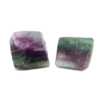 Fluorite Octahedron 01 - Pair Green Purple Cleave Minerals