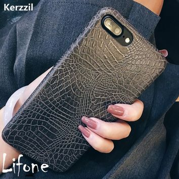Kerzzil Vintage Crocodile Snake Printed Soft Case For iPhone 7 6 6S Plus PU Leather Back Cover For iPhone 6 7 6S Capa Coque