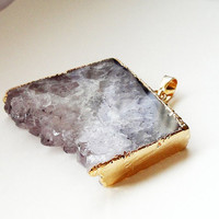Druzy Drusy Amethyst Purple Edged Gold Dipped Slice Rectangular Pendant/ Drussy Druzzy Drusy Stone Pendant