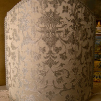 Venetian Lamp Shade Silver Silk Jacquard Fabric Rubelli Les Indes Galantes Pattern Lampshade - Handmade in Italy