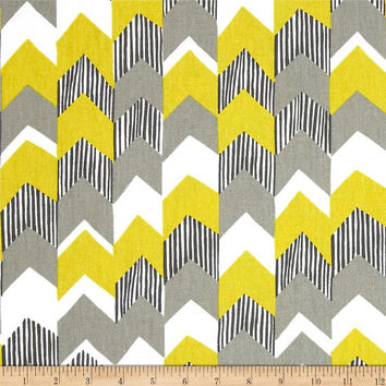 Yellow, Grey, Black and White Chevron Curtain Panel/ Custom Drapery in Richloom Nino Stripe Cotton