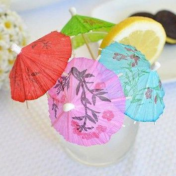 60 Mini Umbrellas Parasol Toothpicks Cocktail Party Pick Tropical Drink Swizzle
