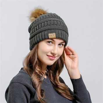 Men Women Baggy Warm Crochet Winter Wool Fox Fur Ball Cap Winter Hat For Women Girl 's Hat Knitted Beanies Cap Thick Female Cap