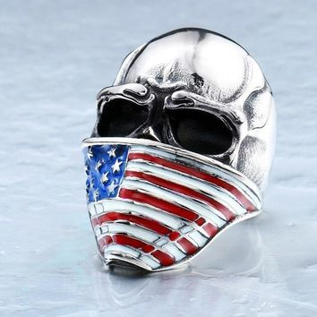 American Flag Skull Casual Men's Fashion Rings