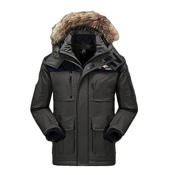 High Quality Fashion Long Thick Warm Winter Jacket Men Parkas Fur collar New Jackets And Coats For Men Hood Clothing
