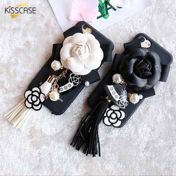 KISSCASE For iPhone 6 6S 6 Plus 6S Plus Case Girly Luxury Camellia Rose Flower Diamond Pearl Pendant Cover For iPhone 7 7 Plus