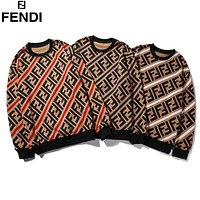 FENDI Casual Long Sleeve Pullover Top Sweatshirt