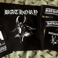 Bathory Hordes Black Metal Goat Quorthon Black Canvas Patch Set