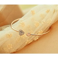 Heart styled love opening gold silver plated bracelets