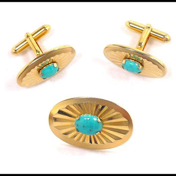 Turquoise & Gold Cuff Links, Genuine Turquoise, Gold Starburst, GQ Black Tie Tuxedo Groom Best Man Groomsman, Graduation Gift for Him