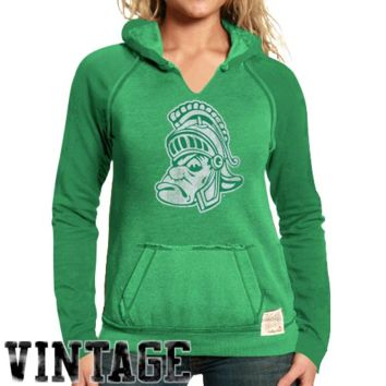 Original Retro Brand Michigan State Spartans Ladies Two-Toned V-Neck Hooded Sweatshirt - Green