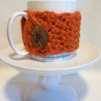 Mug Cozy Cup Cozy / Chunky PUMPKIN ORANGE / with Coconut Button / Special Gift