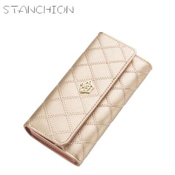 STANCHION Big Capacity Women Wallets Lingge Gold Metal Crown Lady Long Day Clutch Wallet High Quality Purse For Women Gift