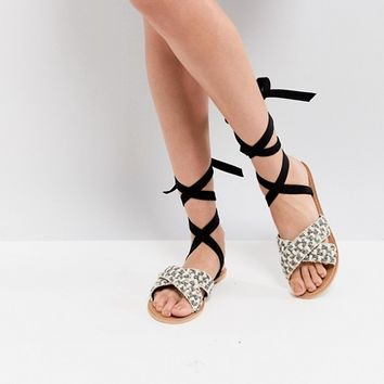 Glamorous Woven Raffia Ankle Tie Flat Sandal at asos.com