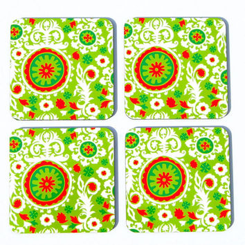 Coasters Christmas Coasters Gift Drink Coasters Four (4) Coasters Holiday Coasters Kitchen Decor Red Green Coaster Hostess Gift