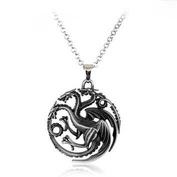 Game of Thrones House Targaryen Silver Pendant Necklace