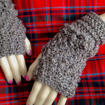Outlander Fingerless Texting Gloves Brown Lallybroch Scottish Diana Gabaldon Puff Winter accessories Mitts FREE SHIPPING