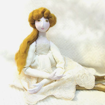 OOAK  art doll Handmade Soft Sculpture Fabric Art Doll gold  handsewn handpainted romantic summer cloth doll princess