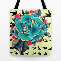 Blue Rose Tote Bag by Ilola