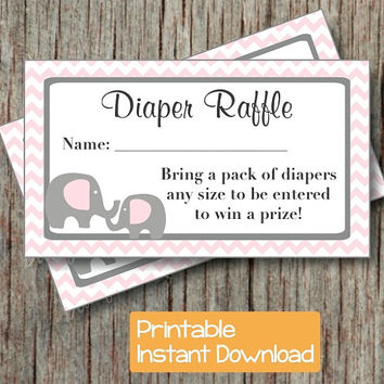 Baby Shower Diaper Raffle Ticket Printable Baby Shower Party Powder Pink Grey Elephant Diaper Raffle Tickets INSTANT DOWNLOAD pdf DIY 001