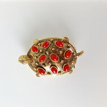 Vintage Turtle PIll Box, Vintage Turtle Ring Box, Red and Gold Brass Turtle, Red and Gold Home Decor, Red Beads Trinket Box, Boho Chic Decor