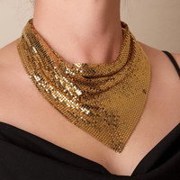 Vintage Whiting and Davis Gold Mesh Bib Necklace