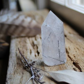Mini Quartz Point with Terminated Inclusions (Black Terminated Quartz)