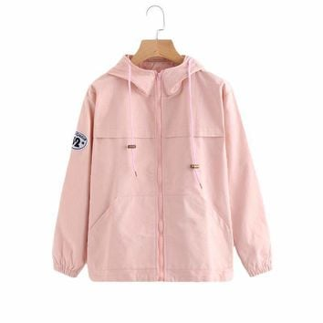 Pink Zip Up Hooded Jacket