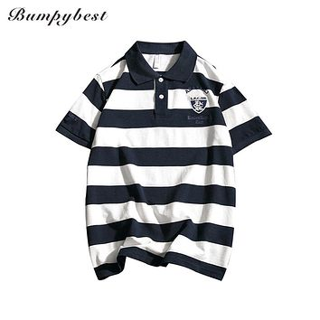 New Western Style Striped Turn-Down Collar Short Sleeves Slim Spring Summer Casual Men's Embroidery Pattern Polo Shirts