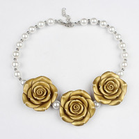 Girls Gold Flower and Pearl Chunky Bubblegum Necklace