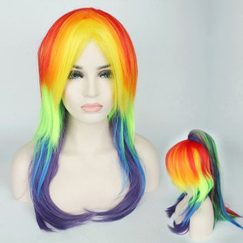Rainbow Long Tail with Ponytail My Little Pony Cosplay Synthetic Wig