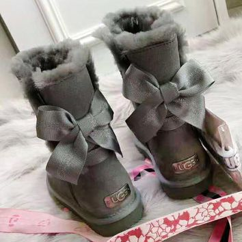 UGG 2018 winter new wild ribbon bow female models anti-skiing boots
