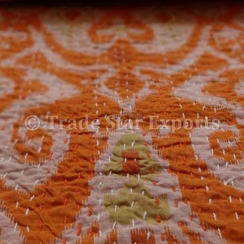 Ikat Kantha Cotton Quilt, Orange Color Theme, Queen Size Kantha Throw, Reversible Kantha Bedspread, Ikat Print Fabric with Kantha Work