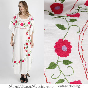 Vintage Mexican Dress Caftan White Wedding Maxi 70s Bright Floral Hippie