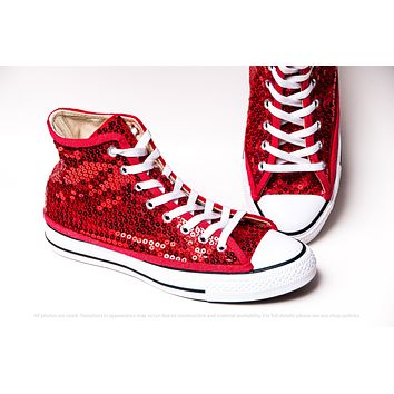 Red Sequin High Top Sneakers with Red Accents
