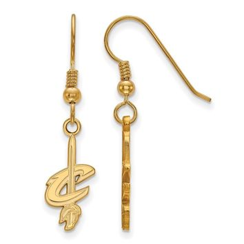 NBA Cleveland Cavs 14k Yellow Gold Plated Silver SM Dangle Earrings