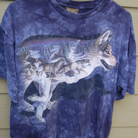 Vintage 80s 90s Tie Dye Wolf T-Shirt Tee Size Large Mens Unisex