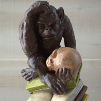 Unique Vintage Statue Home Decor  Hugo Rheinhold's Philosophizing Monkey