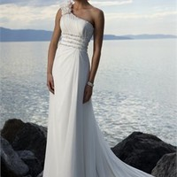 Handmade Flower One-shoulder Empire Waist Chiffon A-line Wedding Dress WD0042