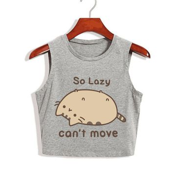 So Lazy Can't Move - Cats/Sarcasm - Women's Cropped Tank Top