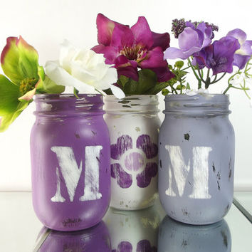 MOM, set of three (3), Hand Painted Mason Jars | Rustic, Home Decor - Purple and White Painted Mason Jars
