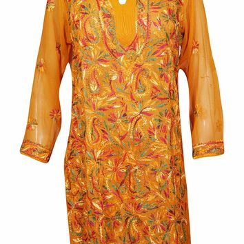 Mogul Interior Womens Floral Tunic Embroidered Bohemian Yellow Georgette Kurtis L: Amazon.ca: Clothing & Accessories